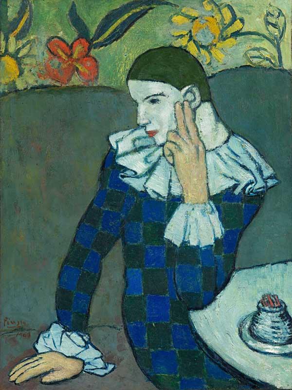Pablo-Picasso_Arlequin-accoude_19012
